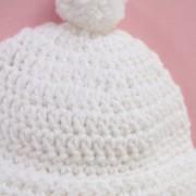 Bonnet enfant pompon blanc