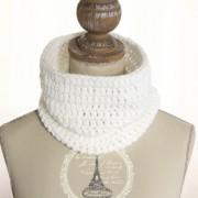 tour de cou en laine femme blanc pailleté