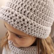 Parure bonnet snood enfant