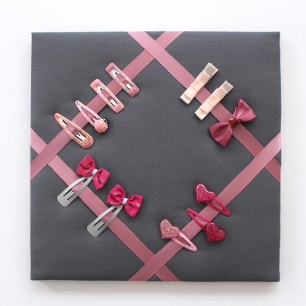 Cadre barrettes gris rose