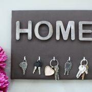 Panneau porte-clés HOME marron Décoration maison