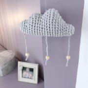 Mobile nuage gris argent et perles