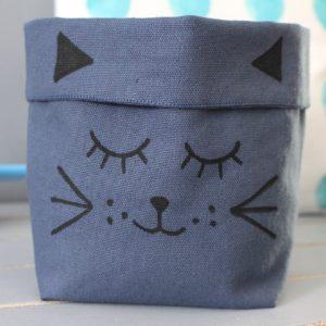 Panier souple chat bleu