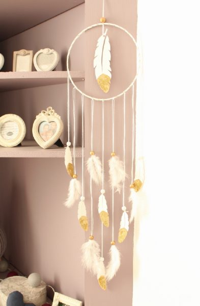 Attrape-rêve Plume blanc et or