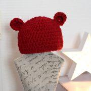 bonnet bébé petit ours 3 mois rouge