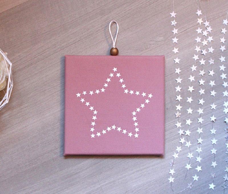 Cadre phosphorescent toile d toiles rose poudr - Cadre message lumineux ...