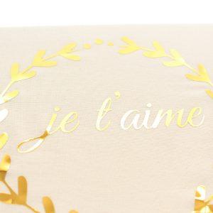 Cadre Je t'aime couronne blanc et or