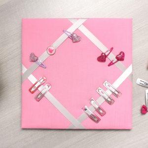 Cadre barrettes rose moyen bouton coeur vintage