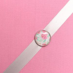 Cadre barrettes rose moyen bouton fleuri vintage