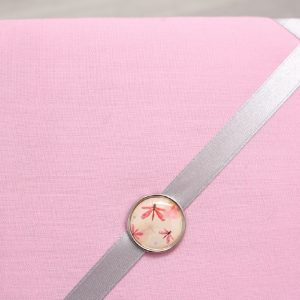 Cadre barrettes rose pâle bouton vintage libellule