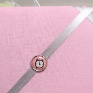 Cadre barrettes rose pâle bouton vintage réveil