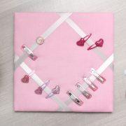 Cadre barrettes rose pâle bouton vintage libertyB