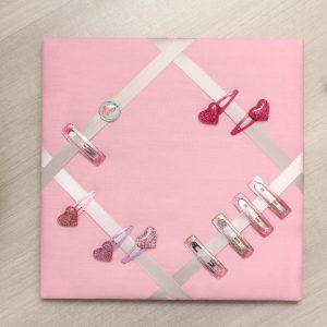 Cadre barrettes rose pâle bouton vintage libertyC