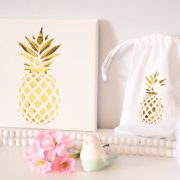 Cadre et pochon ananas gold
