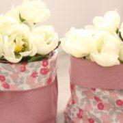 paniers souples en tissu vieux rose et fleurs roses