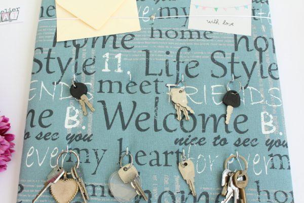 panneau porte-clés pratique bleu