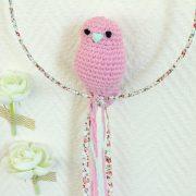 Mobile suspension oiseau rose bonbon et liberty