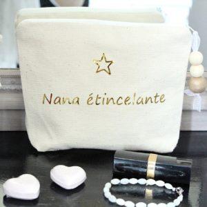 """Trousse à maquillage Pochette de sac """"Etoile"""" or miroir"""