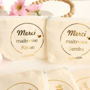 Pochette Porte-monnaie Porte-cartes MERCI or personnalisable
