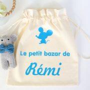 """Pochon sac souriceau """"Le petit bazar de ..."""" personnalisable"""