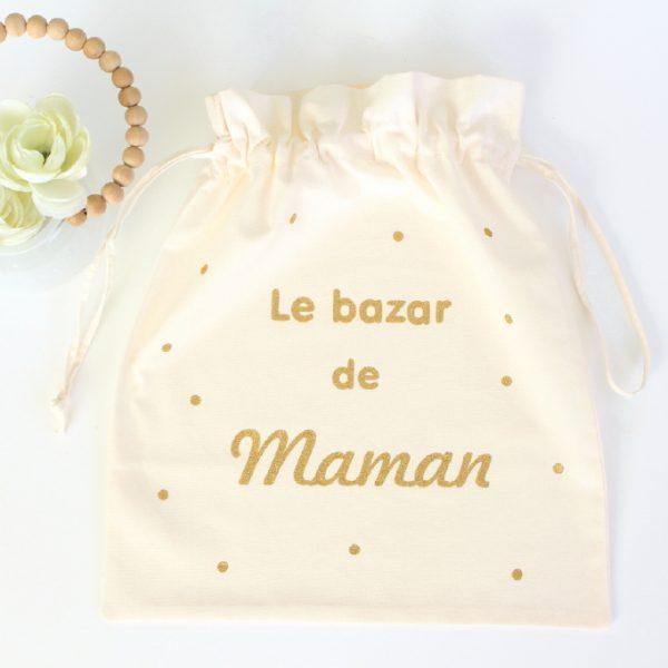 """Pochon sac """"Le bazar de ..."""" confettis personnalisable"""