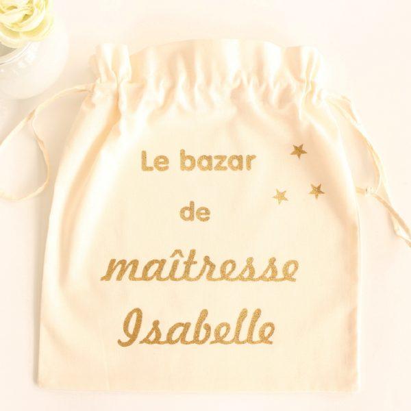 """Pochon sac """"Le bazar de ..."""" étoiles personnalisable"""