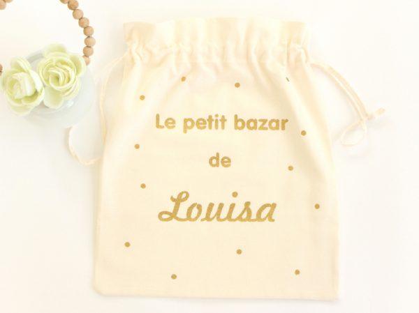 """Pochon sac """"Le petit bazar de"""" confettis personnalisable"""