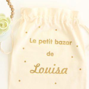"""Pochon sac """"Le petit bazar de ..."""" confettis personnalisable"""
