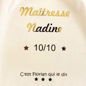 """Pochon sac """"Maîtresse 10 sur 10"""" étoiles personnalisable"""