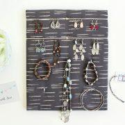 Porte bijoux mural gris pour Boucles d'oreilles Colliers Bracelets
