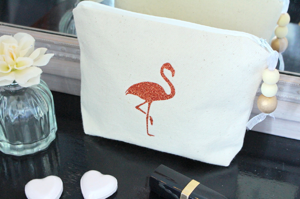 Trousse-à-maquillage-Pochette-de-sac-«-Flamingo-»-rouge-pailleté-2