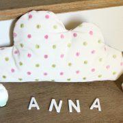 Coussin nuage à pois rose et vert Décoration chambre enfant bébé