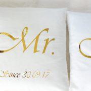 Coussins mariés blanc et or personnalisable avec date Cadeau de Mariage