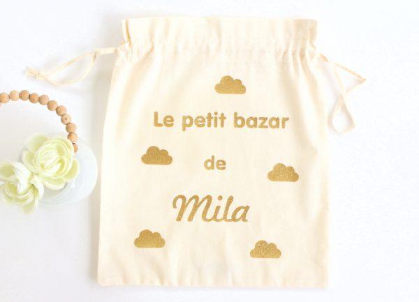 """Pochon sac nuages """"Le petit bazar de"""" personnalisable"""