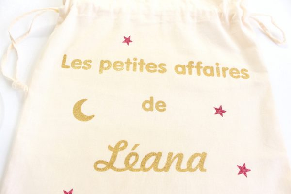 """Pochon sac """"Les petites affaires de"""" lune étoiles personnalisable"""