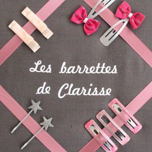 Cadre pour barrettes gris et rose Personnalisable