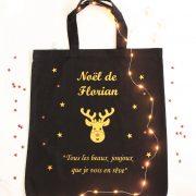 vSac de Noël RENNE OR personnalisable avec un prénom à remplir de Cadeaux