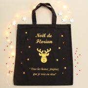 Sac de Noël RENNE OR personnalisable avec un prénom à remplir de Cadeaux