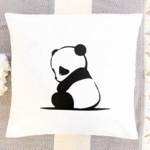 Coussin blanc Panda Décoration chambre enfant bébé