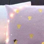 Coussin Petits anges rose et or Décoration maison chambre enfant bébé