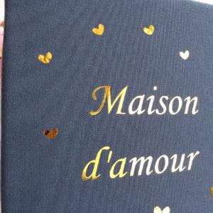 Cadre Maison d'amour bleu et or