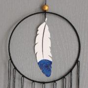 Attrape-rêve Plume bleu moutarde gris et or