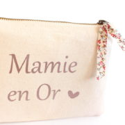 Pochette trousse Mamie en or cœur et Liberty personnalisable