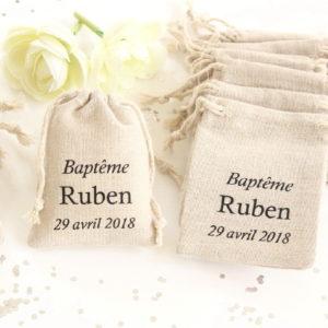 Pochons personnalisés pour dragées baptême mariage communion
