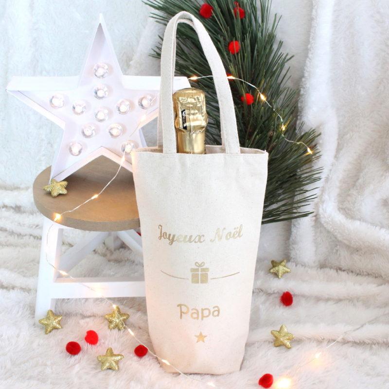 sac cadeau pour bouteille joyeux no l personnalisable ateliernat. Black Bedroom Furniture Sets. Home Design Ideas