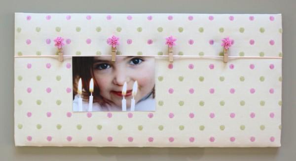 Pêle-mêle photo mural ou à poser à pois rose et vert