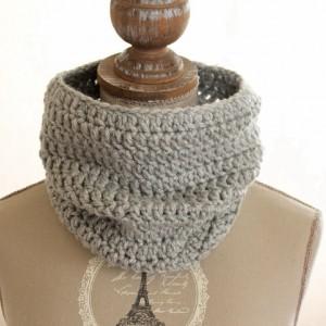 tour de cou en laine femme gris pailleté