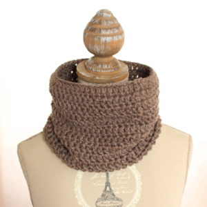 Tour de cou Snood en laine femme marron pailleté