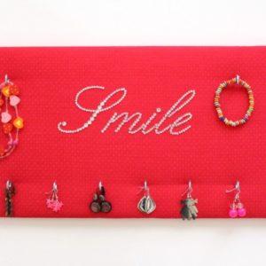 """Porte bijoux """"Smile"""" rose à pois"""