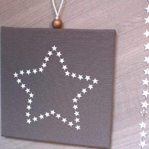 Cadre lumineux étoile d'étoiles gris